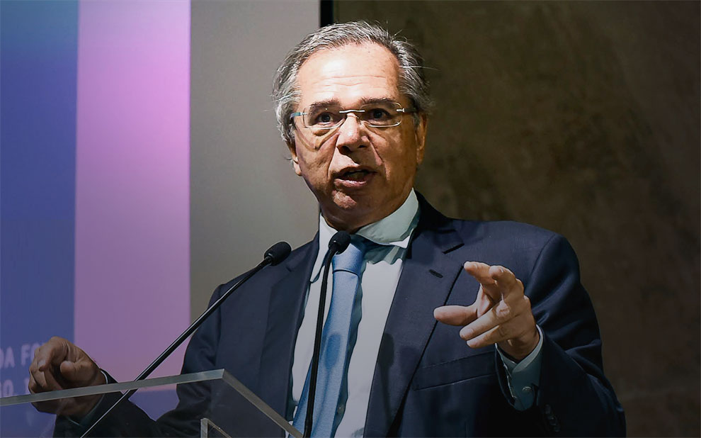 Economy Minister Paulo Guedes participates in Reassessing Brazil's Risk Rating seminar at FGV