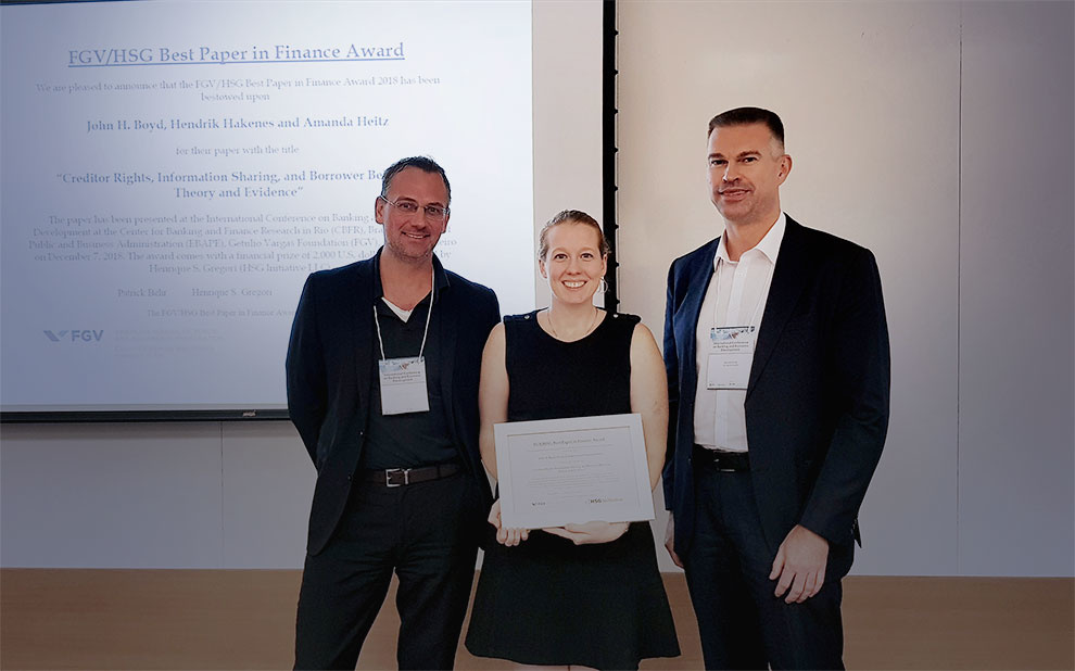 International research receives 2018 FGV/HSG Award for Best Paper